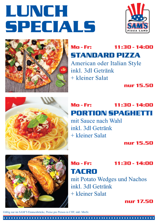 SAM\'S Pizza Land - Specials bei SAMS Pizza Land